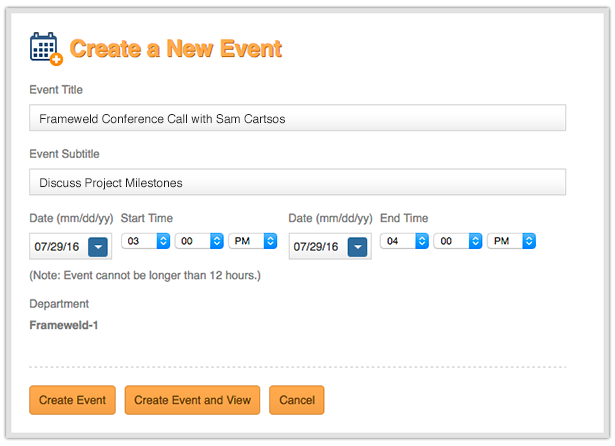Create a New Event modal